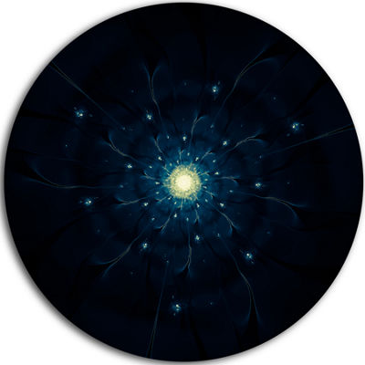 Designart Glowing Fractal Flower Blue on Black Floral Metal Circle Wall Art