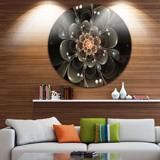 Designart Perfect Shiny Fractal Flower in Dark Brown Floral Metal Circle Wall Art