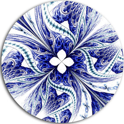 Designart Symmetrical Blue White Fractal Flower Floral Metal Circle Wall Art