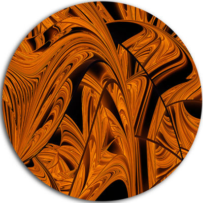 Designart Vibrant Brown Fractal Flower Pattern Oversized Abstract Metal Art