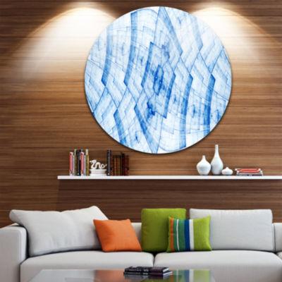 Designart Blue Fractal Flower Pattern GridAbstractMetal Circle Wall Art