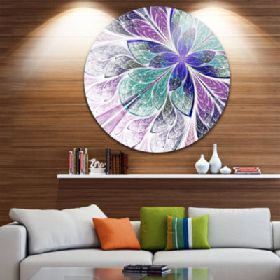 Designart Blue and Purple Fractal Flower Design Floral Metal Circle Wall Art