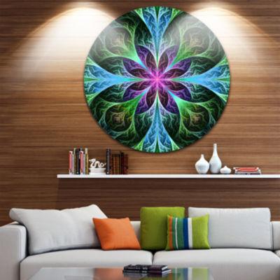 Designart Glowing Blue and Green Fractal Flower Pattern Floral Metal Circle Wall Art