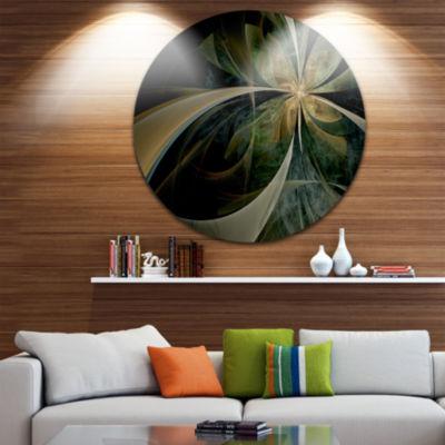 Designart Brown and Gold Symmetrical Fractal Design Floral Metal Circle Wall Art