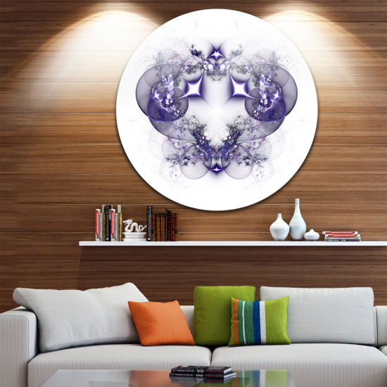 Designart Dark Purple Fractal Flower Design LargeAbstract Metal Artwork
