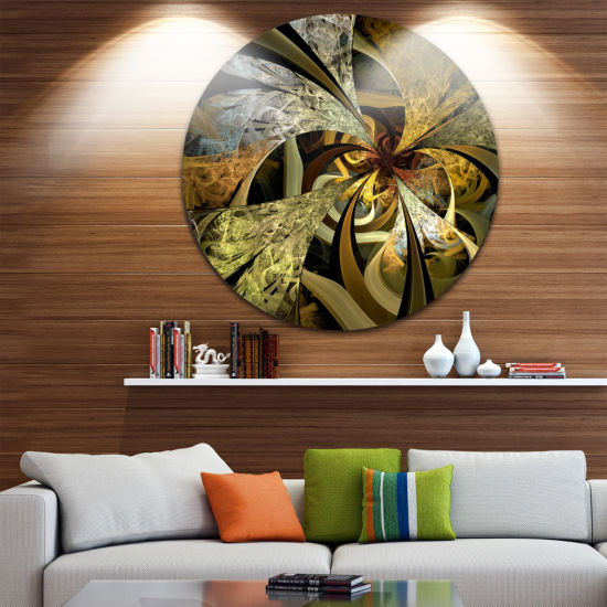 Designart Symmetrical White Golden Fractal FlowerFloral Metal Circle Wall Art