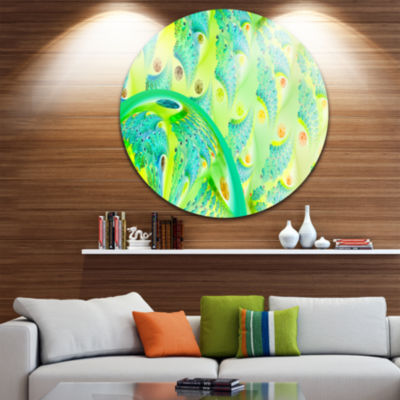 Designart Vibrant Green Fractal Flower Design Oversized Abstract Metal Art