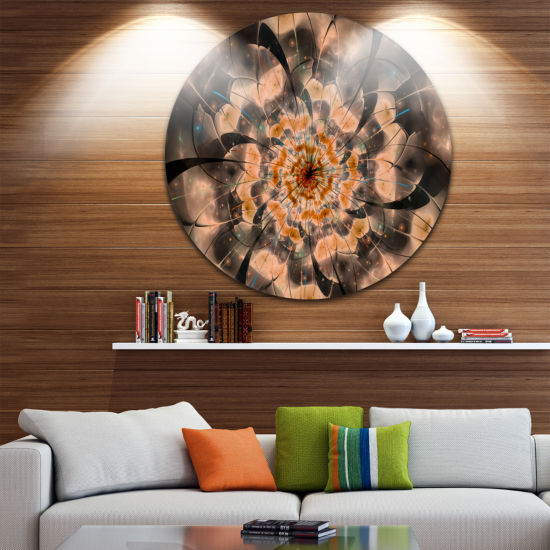 Designart Brown Fractal Flower Petals Close up Floral Metal Circle Wall Art
