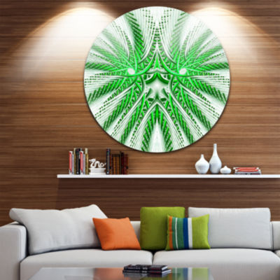 Designart Glowing Green Fractal Flower in White Large Abstract Metal Artwork