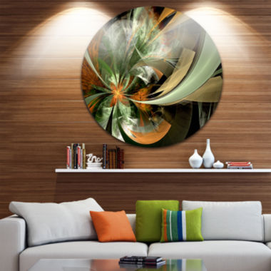 Design Art Symmetrical Orange Green Fractal FlowerFloral Metal Circle Wall Art