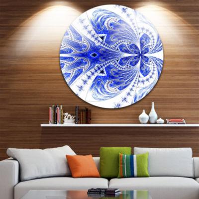 Designart Symmetrical Soft Blue Fractal Flower Floral Metal Circle Wall Art