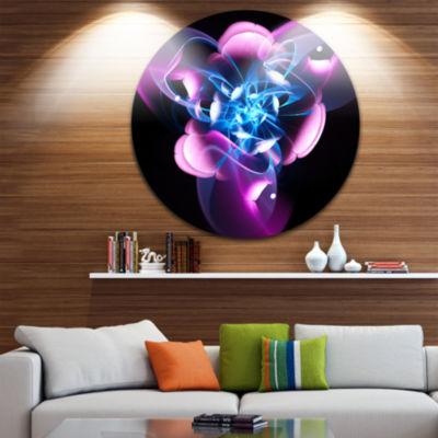 Designart Blue Purple Large Fractal Flower DesignAbstract Metal Circle Wall Art