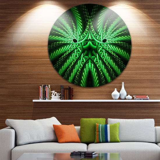 Designart Glowing Green Fractal Flower in Black Large Abstract Metal Artwork