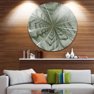 Design Art Symmetrical Light Green Fractal FlowerFloral Metal Circle Wall Art