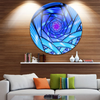Design Art Mysterious Psychedelic Fractal PatternAbstract Metal Circle Wall Art