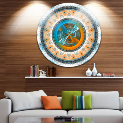 Designart Large Rounded Symmetrical Flower BrownAbstract Metal Circle Wall Art