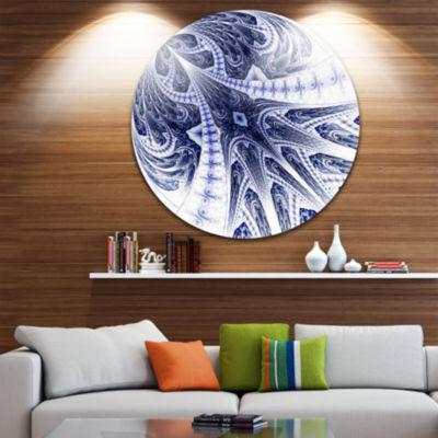 Designart Symmetrical Dark Blue Fractal Flower Floral Metal Circle Wall Art