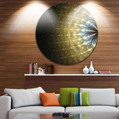 Designart Amazing Gold Symmetrical Fractal FlowerFloral Metal Circle Wall Art