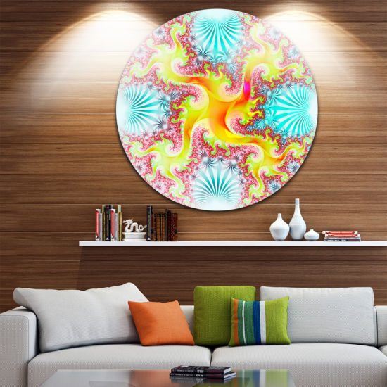 Designart Glowing Golden Fractal Flower Large Abstract Metal Artwork