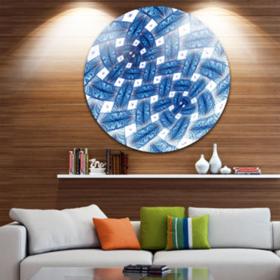 Designart Large Blue Symmetrical Flower Design Floral Metal Circle Wall Art