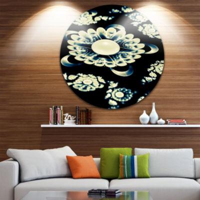 Designart Abstract White Mandala on Black Floral Metal Circle Wall Art