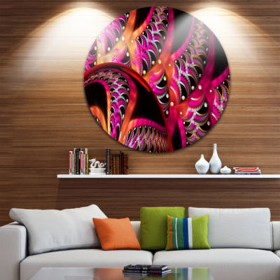 Designart Unique Magenta Fractal Design Pattern Oversized Abstract Metal Art