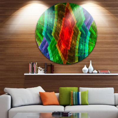 Designart Multi Color Psychedelic Fractal Metal GridAbstract Metal Circle Wall Art