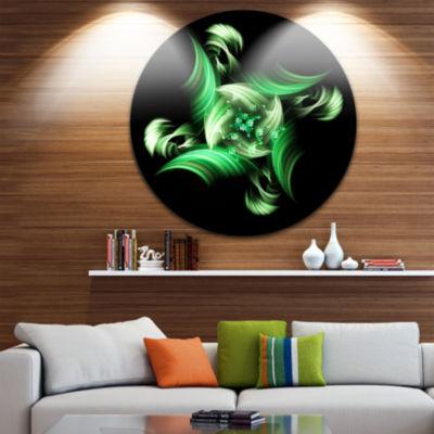 Designart Rotation of Small World Green in BlackFloral Metal Circle Wall Art