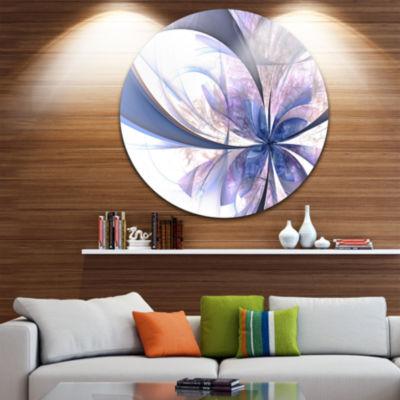 Designart Light Blue Fractal Flower Design FloralMetal Circle Wall Art