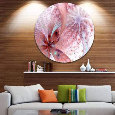 Designart Red and Blue Symmetrical Fractal FlowerFloral Metal Circle Wall Art