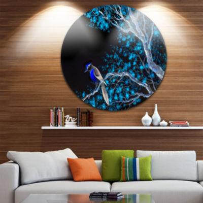 Design Art Beautiful Bird on Flowering Branch Floral Metal Circle Wall Art