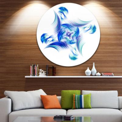 Designart Rotation of Small Universe Blue FlowerFloral Metal Circle Wall Art