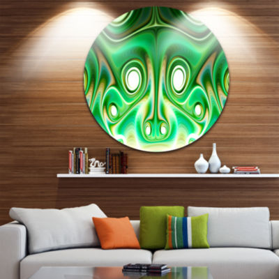 Design Art Vibrant Green Fractal Flower Design Large Abstract Metal Artwork