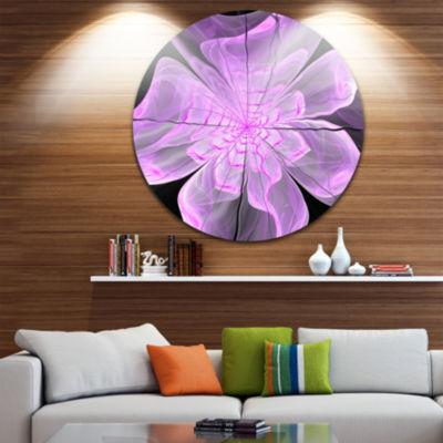 Designart Lush Purple Digital Art Fractal FlowerFloral Metal Circle Wall Art