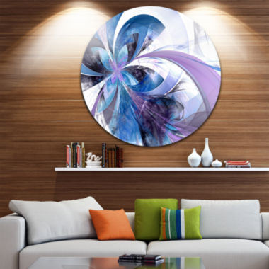 Design Art Symmetrical Fractal Flower in Blue Floral Metal Circle Wall Art