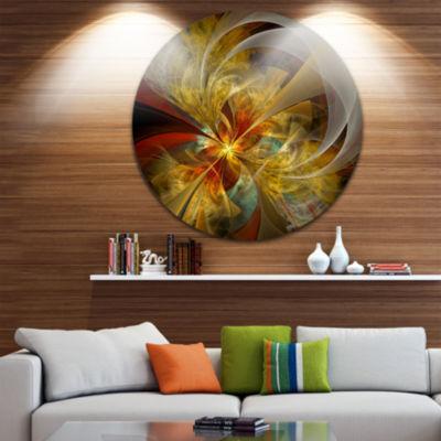 Designart Bright Yellow Symmetrical Flower DesignFloral Metal Circle Wall Art