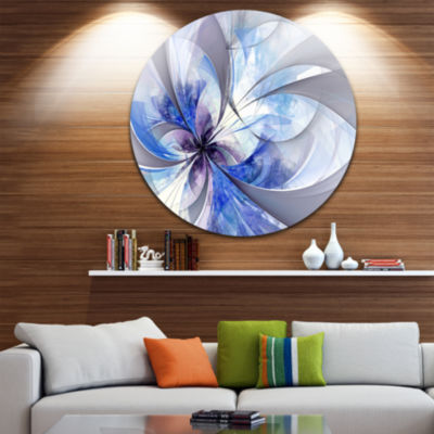 Designart Blue Large Symmetrical Fractal Flower Floral Metal Circle Wall Art