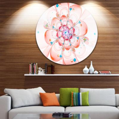 Designart Pink Fractal Flower Petals Close up Floral Metal Circle Wall Art