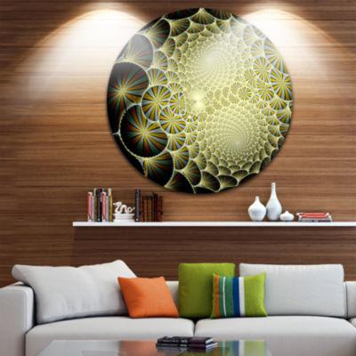 Designart Yellow Symmetrical Unique Fractal DesignFloral Metal Circle Wall Art