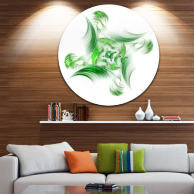 Designart Rotation of Small Universe Green FlowerFloral Metal Circle Wall Art