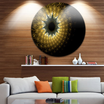 Designart Symmetrical Gold Digital Fractal FlowerFloral Metal Circle Wall Art