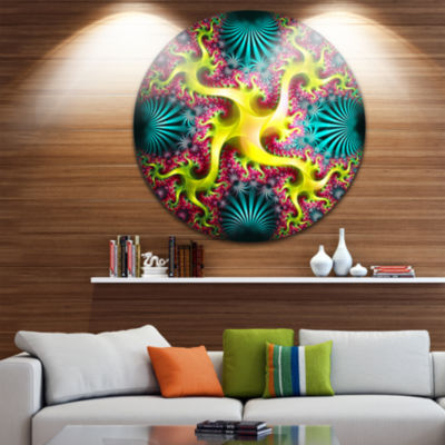 Designart Glowing Yellow Fractal Flower Design Large Abstract Metal Artwork