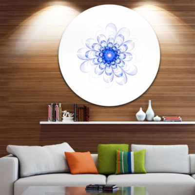Designart Perfect Glowing Fractal Flower in BlueFloral Metal Circle Wall Art