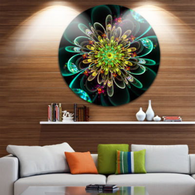 Designart Perfect Shiny Fractal Flower in Green Floral Metal Circle Wall Art
