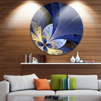 Designart Blue and Yellow Large Fractal Pattern Floral Metal Circle Wall Art