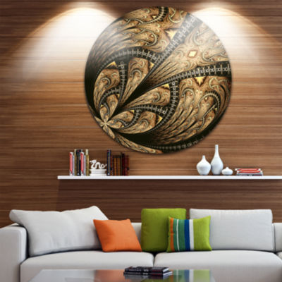 Designart Symmetrical Large Brown Fractal FlowerLarge Floral Metal Circle Wall Art
