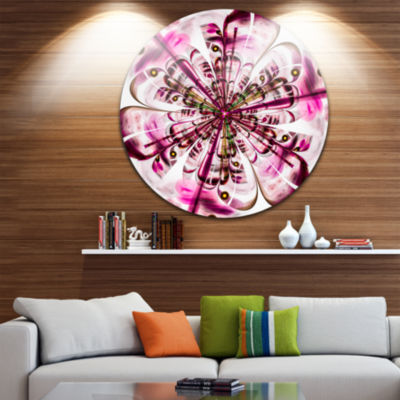 Designart Perfect Digital Flower Art in Dark PinkFloral Metal Circle Wall Art