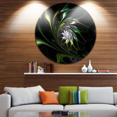 Designart Multi Colored Green Stained Glass FloralMetal Circle Wall Art