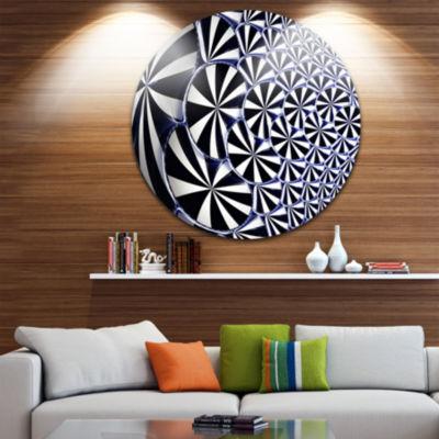 Designart 3D Shaped Black and White Flower DesignFloral Metal Circle Wall Art