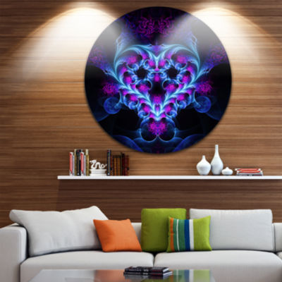 Designart Bright Blue Large Fractal Flower DesignAbstract Metal Circle Wall Art